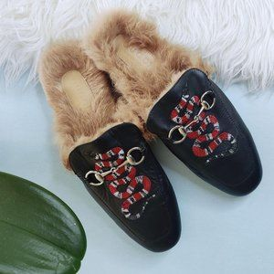 Gucci Princetown Snake Embroidered Slipper Mules